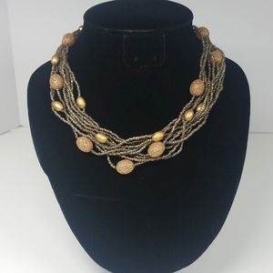 Gold Beaded Multi Strand Necklace